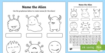 Phase 4 Phonics Name the Alien Worksheet / Activity Sheet - phonics screening, phonics, phase five, reading, grapheme, phoneme, alien words, nonsense words, wor
