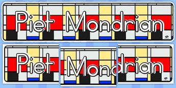 Piet Mondrian Display Banner (Australia) - banners, displays