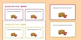 General Conversation Travel & Tourism Question Pair Cards Spanish