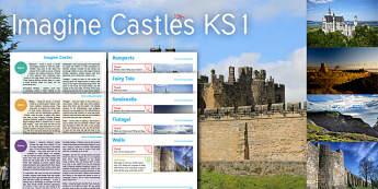 Imagine Castles KS1 Resource Pack - Rampart, Castle, Fairy Tale, Sand Castle, Tintagel, Wall