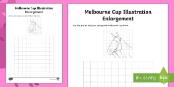 3-6 Melbourne Cup Enlargement Activity Sheet - Melbourne Cup, melbourne, Australia, events, horse, races, enlargement, grid,Australia, Worksheet