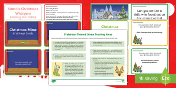 CFE First Level Expressive Arts Christmas Drama Activities Resource Pack - santa, mime, impression, challenge, performance,