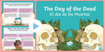 Mexican Day of the Dead Information PowerPoint US English/Spanish (Latin) - Mexican, info, dia de los muertos, pp, ppt, spanish, español, eal, esl