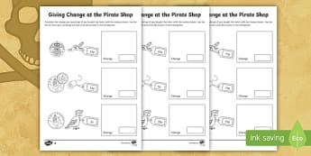 Pirate Themed Maths Giving Change Activity Sheet - Money, Maths, Numeracy, Coins, Key Stage One, KS1, Year 1, Year 2, Key Stage 1, Change, Giving Chang