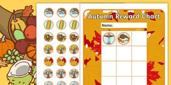 Autumn Sticker Reward Chart 30mm - autumn, sticker, reward chart, rewards, autumn stickers, reward stickers, autumn reward chart, awards, seasons