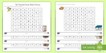 Pet Themed Letter Maze Activity Sheets - pets, family pets, classroom pets, letter maze, activity sheets, pets letter maze, pets activity she