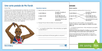 Healthy Living: Mo Farah Quick Finishers Differentiated Reading Comprehension Activity French - healthy, living, santé, lecture, comprehension,French
