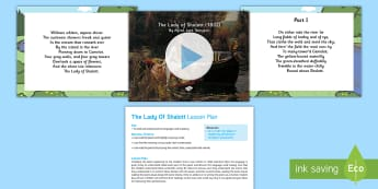 'The Lady of Shalot' by Alfred Lord Tennyson PowerPoint - The Lady of Shalot' by Alfred Lord Tennyson PowerPoint, pp, ppt, lesson plan, english, poetry