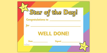 Star of the Day Award Certificate - Star of the day, certificate, foundation, good behaviour award, behaviour management, behaviour reward