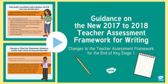Guidance on the New 2017 to 2018 Teacher Assessment Framework for Writing KS1 PowerPoint - interim assessment, evidence, sats, judgement, teacher assessment, Y2, moderation, year 2
