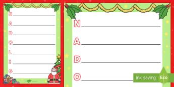 Christmas Acrostic Poem Template Welsh - Christmas, welsh, cerdd, poem, ysgrifennu, writing, Christmas, Nadolig, geiriau, words, brawddegau