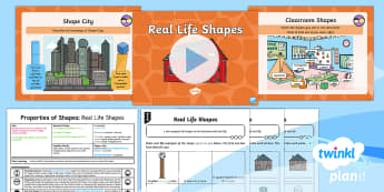 * NEW * PlanIt Maths Y2 Properties of Shapes Lesson Pack 3D Shapes (2)   - edges, faces, vertices, real life shapes, using and applying, shanghai maths, maths mastery, concret