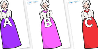 A-Z Alphabet on Dames - A-Z, A4, display, Alphabet frieze, Display letters, Letter posters, A-Z letters, Alphabet flashcards