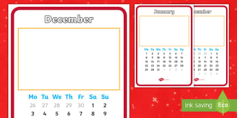 2018 A4 Christmas Gift Month to a Page Calendar - New Calendar, New Year, Present, Handmade, Hand drawn, Designed, Creative, Fun