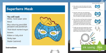 KS1 Superhero Mask Craft Instructions - role play, How to make, step by step, Art, Marvel characters