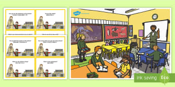 School Scene and Question Cards English/Mandarin Chinese - School Scene and Question Cards - school scene, question, cards, EAL