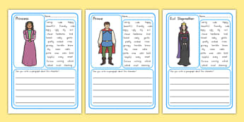 Character Description Writing Frames - stories, characters, write