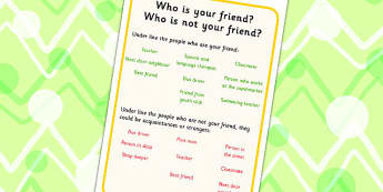 Who Is Your Friend Worksheet - friends, friendship, SEN, prompts