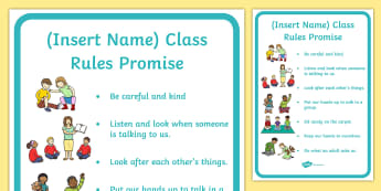 Our Class Rules Promise  Display Poster - New Class, Transition Activity, Nursery to Foundation, Classroom Displays, PSHE