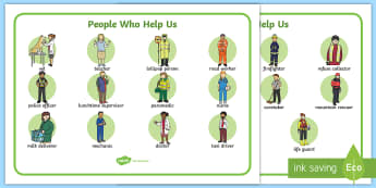 People Who Help The Community - word mat,  People who help us, Display, Word mat, Key words, Role Play, Doctor, Nurse, Teacher, Police, Fire fighter, Paramedic, Builder, Caretaker, Lollipop, Traffic Warden, Lunchtime supervisor, lunch time assistant,
