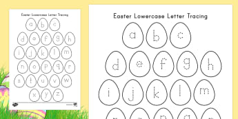 Easter Lowercase Alphabet Tracing Activity Sheet - Easter, Lowercase Letters, Tracing, Small Motor Skill Practice, Center Activity, ELA, Literacy, Hand