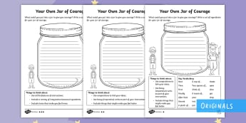 A Recipe for a Jar of Courage Differentiated Worksheet / Activity Sheets - milton, making of milton, twinkl fiction, ingredients, list, imperative verbs, commands, KS1