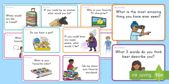 Spark a Conversation Prompt Cards - Speaking, Listening, Conversation Starters, Common Core, Kindergarten, chat, talk