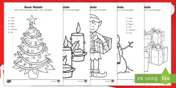 Buon Natale colora con i numeri Fogli da colorare - numero, matematica, colore, natalizio, italiano, italian, matriale, scolastico