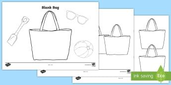 Blank Bag Template -  create, design, beach bag, decorate, summer