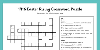 1916 Rising Crossword - Easter 1916 Rising, irish history, worksheet, crossword