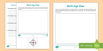 Bird's-Eye View Worksheet / Activity Sheet - compass, directions, plan, practical maths, worksheet, Recognise and use in practical situations, th