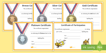 Spelling Bee Certificates - Key Stage Two, KS2, Award, Reward, Classroom Management, Behaviour, Literacy, English, learning, The