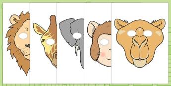 Masques pour jeu de rôle : Les animaux du zoo - cher zoo, dear zoo, animaux, les animaux, histoire, livre