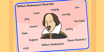 William Shakespeare Word Mat - william shakespear, word mat, topic words, topic mat, themed word mat, writing aid, mat of words, key words, keywords