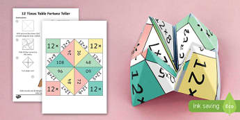 12 Times Table Fortune Teller - 12 times table, times table, times tables, fortune teller, activity, craft, fold