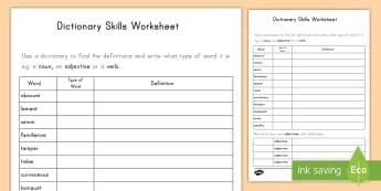 Dictionary Skills Word Table Activity Sheet - dictionary, literacy, English, word table