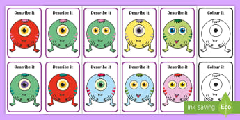 Describe It, Colour It Aliens Game - speaking and listening, describing, extending sentences, listening games, attention, receptive langu