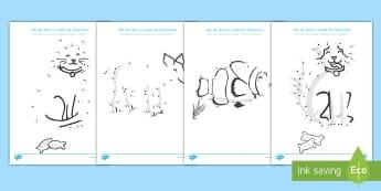 Animals Dot to Dot Sheets US English/Spanish (Latin) - Dot to dot Sheets (Animals) - dot to dot sheets animals, dot to dot, sheets, animals, animal, colour