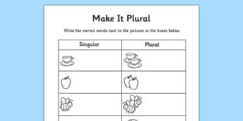 Singular and Plural Worksheet - singular and plural, plurals, plurals worksheet, changing words to plural, make it plural worksheet, plural words worksheet
