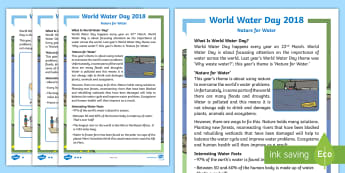KS1 World Water Day Nature for Water Differentiated Fact File - World Water Day, Water Day, World Water Day Information, World Water Day Fact File, World Water Day