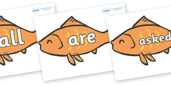 Tricky Words on Goldfish - Tricky words, DfES Letters and Sounds, Letters and sounds, display, words