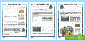 KS1 Martin Luther King  Differentiated Fact File - significant individuals, prejudice, discrimination, racism, civil rights, Black History Month, Marti