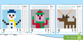 KS1 Winter Addition and Subtraction Mosaic Activity Sheets - calculation, number bonds, solve, seasons, number, Worksheets