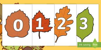 Numbers 0-30 on Autumn Leaves - numbers, 0-30, 30, display, autumn, leaves, autumn leaves, posters, cut outs