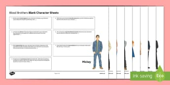 GCSE English Literature Character Revision Activity Sheets to Support Teaching on Blood Brothers by Willy Russell - Secondary - 15 Minute Revision Activities, Willy Russell, worksheet, Blood Brothers, Mickey, Edward,