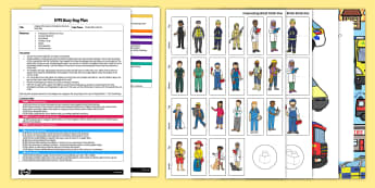 People Who Help Us Emergency Services EYFS Busy Bag Plan and Resource Pack - People who help us, blocks, emergency, fire engine, police, ambulance, police car, paramedic, fire fighter, EYFS plan