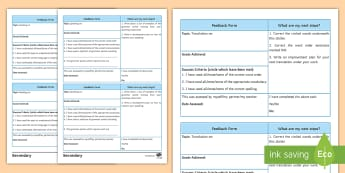 German Grammar Assessment Templates - Template, Editable, Peer/Student/Teacher assessment, time Saving, Progress,German
