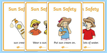 Sun Safety Display Posters - Sun safety, Sun, Summer, sunburn, Display Words, display, summer, fun in the Sun, Sun danger, sun hat , sunglasses