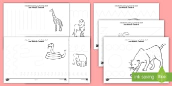 Zoo Themed Pencil Control Activity Sheets - Arabic/English - - EYFS, Early Years, Key Stage 1, KS1,  Animals, Pencil Control, Fine Motor Skills, Handwriting, Mark