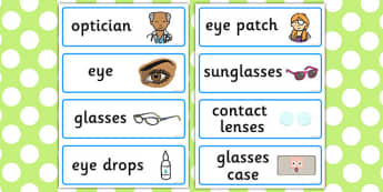 Opticians Role Play Word Cards - Opticians, optician, eyes, eye, eye doctor, role play, word cards, flashcards, glasses, specs, contact lenses